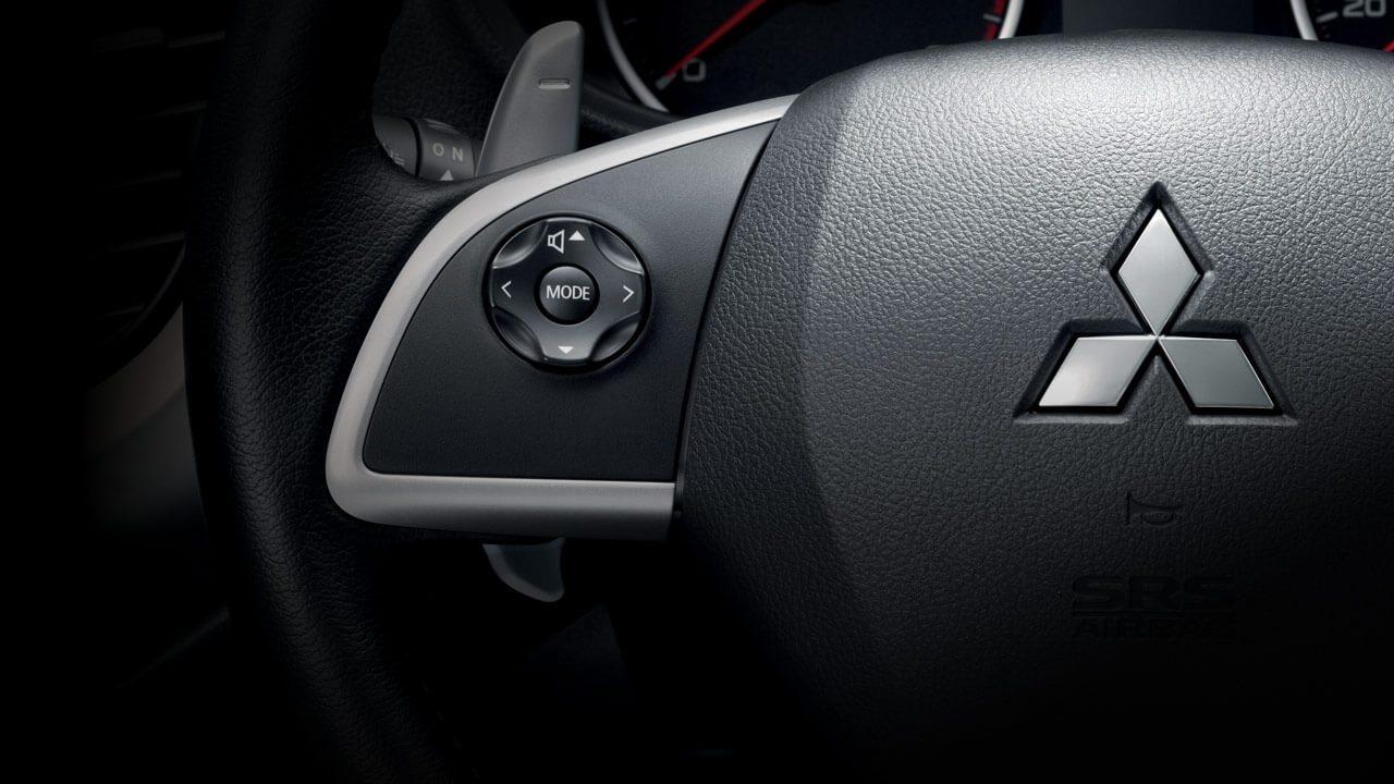 Audio controls on the steering wheel