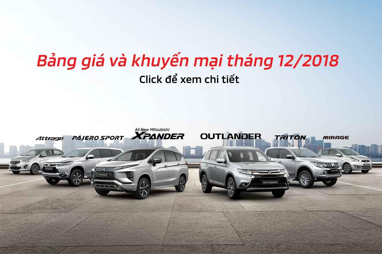 Bảng giá xe Mitsubishi tháng 12/2018