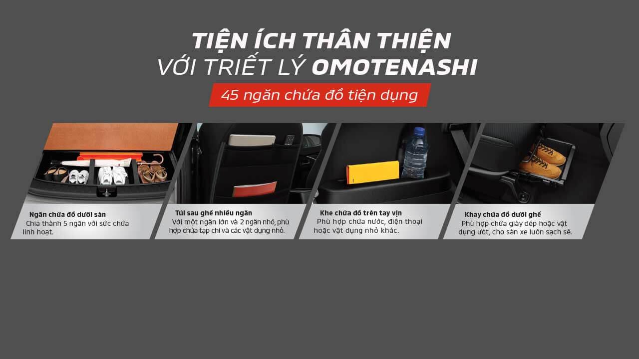45 ngăn chứa đồ tiện ích theo triết lý Omotenashi
